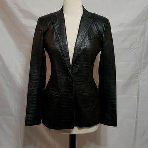 Laundry Shelli Segal Black Lambs Leather Blazer 2